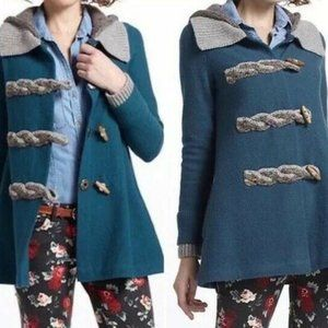 Anthropologie fiets voor 2 coat turquoise hooded